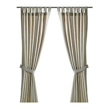IKEA Curtains With Tie-backs 1 Pair Lenda Light Beige 140x250 Cm