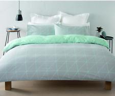 Queen Lester Reversible Green & Grey 3pc Quilt / Doona Cover Set - Queen Bed