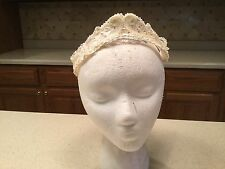 Ladies Vintage Hat Head Piece Tiara Lace With Faux Pearls & Faux Gems Cute Fun
