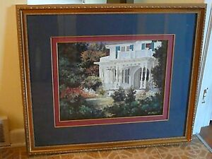 """LARGE Van Martin Oil Paintings USA PRINT """"Victorian Porch"""" GOLD Framed, NICE"""