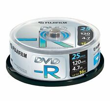 1x25 Fujifilm DVD-R writeonce 4.7gb 1x16x sbozzi Cakebox Nuovo (World *) 000-903