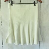 New $60 Free People Size L Large Ivory Solid Gold Ribbed Knit Mini Skirt Cream