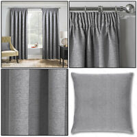 """Grey Silver Thermal Matrix Blockout Lined 3"""" Tape Top Pencil Pleat Curtains Pair"""