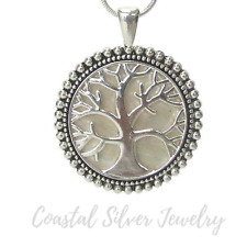 Mother of Pearl Tree of Life Pendant Necklace Silver NEW
