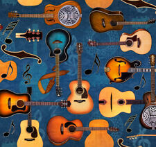 Guitar Fabric, BTY, Lil' Bit Country, QT 27744-W, Blue, TheFabricEdge