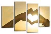 Sunset Love Canvas Wall Art Picture Print Split Panel Orange Gold Heart Hands