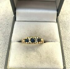 Vintage 9ct Gold Sapphire and Diamond Edwardian style Ring