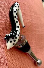 Black And White Polka Dot Stiletto Shoe Bow Stopper Plug For Wine Bottle