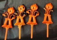 VINTAGE 60's HALLOWEEN HARD PLASTIC PUMPKINS JACK O'LANTERN CAKE DECOR STICKS