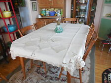 """Vintage Linen Madeira Cutwork & Embroidery 53x65"""" Tablecloth w 6 Large Napkins"""