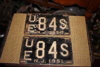 Antique Retired NJ License Plates-1951-Matching Pair-UE84S-Automobile