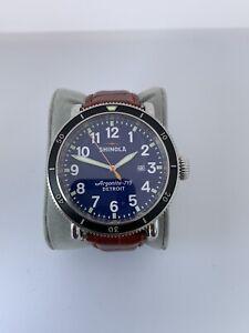 Men's Shinola Runwell 48mm Blue Sport S0100085 Argonite-715 Brown Leather