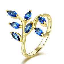 Jewelry Size 7 AAA Luxury Blue Sapphire 10KT Gold Filled Wedding Ring For Ladies