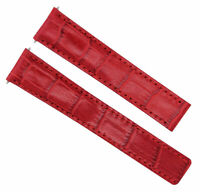 18MM GENUINE LEATHER WATCH STRAP BAND  DEPLOYMENT CLASP FOR TAG HEUER RED #1C