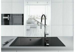 Becken Granit Glas Spüle mit Abtropffläche Einbauspüle Spülbecken Schwarz 86x50