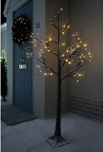 Jaymark Products Snowy Effect Brown Christmas Tree Pre Lit with White LED 6FT