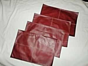 PIER 1 FAUX RED LEATHER WESTERN SOUTHWESTERN (4) OBLONG PLACEMATS 13 X 19