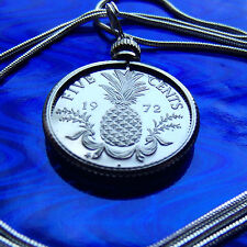 "Bahamas Pineapple Coin Pendant on a 30"" .925 Sterling Silver Snake Chain"