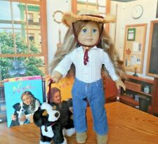 """EUC 18"""" American Girl of the Year 2007 Nicki Doll w Sprocket Dog and Two Books"""