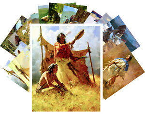 24 Postkarten Set * Native American Life und Horses Retro Illustration CC1025