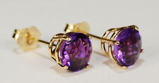 BEENJEWELED NATURAL GENUINE  AMETHYST EARRINGS~PREMIUM 14 KT YELLOW GOLD~6MM