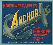 """RARE OLD ORIGINAL 1919 MARITIME/SHIPS """"ANCHOR BRAND"""" APPLE CRATE LABEL YAKIMA WA"""