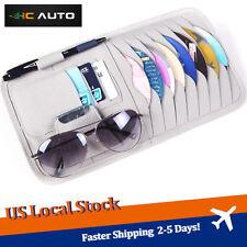 Grey Car Sun Visor PU Leather Sunshade CD Disc Storage Bag Glasses Holder Case