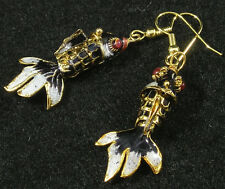 Cloisonne Jointed Fish Earrings Black Red Blue Gold Hypoallergenic Cute & Wiggly