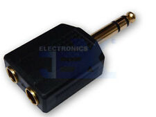 "Gold 2-way Headphone Splitter Adapter 1/4"" 6.35mm Stereo Male jack to 2X Female"