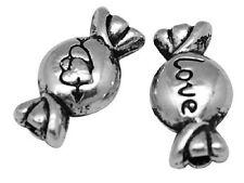 100 Antique Silver Spacer Beads Sweet perles-Love Coeur Design 11 mm