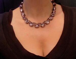 Anna Wintour Antique Pink Choker Necklace w/ Swarovski Oval Crystals 4120