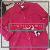 Croft & Barrow Womens Size XS Red Button Up Tab Sleeve Shirt Top Blouse 2081