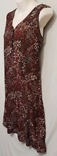 Size L 12 LIFE LAI sleeveless button front shift dress floral maroon V neck