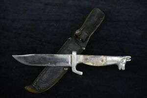 OLD KNIFE DOG HEAD CAST ALUMINUM VTG LEATHER SHEATH
