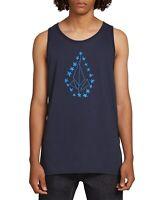 Volcom Mens T-Shirt Navy Blue Size Small S Logo Graphic Print Tank Top #034