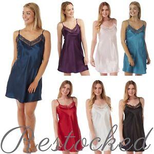 Ladies Satin Lace Nightshirt Chemise Nightie Nightdress PLUS SIZE 10 to 32!