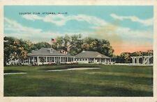 Ottumwa Iowa~Country Club~Flag~Flower Bushes~Large Lawn~1920s Postcard