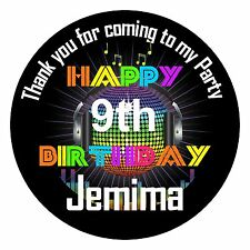 24 Personalised Birthday Party Sticker Labels Thank You Message Disco Themed
