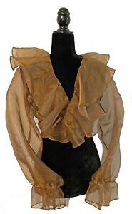 Vintage 1980s 1990s M.J. Carroll Sheer Organza Ruffled Gold Tie Crop Top LARGE