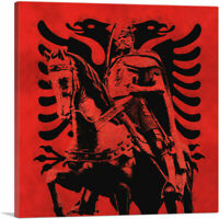 Skanderbeg Black and Red with Two-Headed Eagle Albania Canvas Art Print