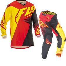 2016 Fly Kinetic Vector Motocross Kit, Red / Black / Yellow, 34 Pant, L Top