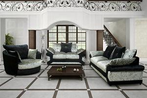Crushed Velvet 3 2 Seater Sofa Suite Black Silver Brown Beige Vegas Chair Set uk