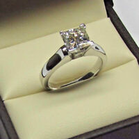 1.00 Ct Princess Cut Diamond Engagement Solitaire Ring 14k White Gold Finish