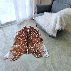 Deer Cow Hide Printed Faux Fur Animal Skin Rug Floor Mat Carpet Home Decor New