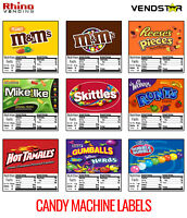 "(9) CANDY VENDING MACHINE STICKERS LABELS - NUTRITION INFO - 2.5"" x 2.5"""