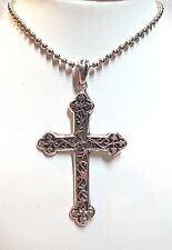 Design Cross w/ Beaded Chain Sterling Silver 925 Nf Embossed