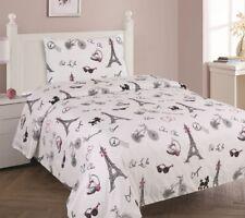 White Black Pink Paris Printed Sheet Set With Pillowcase For Girls / Kids/Teens