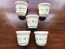5 Longaberger Heritage Green Votive candle Holders pottery Tea cups ceramic Usa