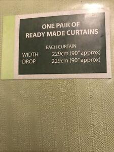 "Ready Made Sienna Green Curtain Pencil Pleat John Lewis  90"" Width x 90"" Drop"