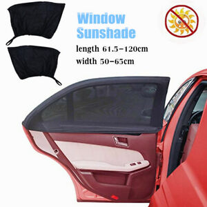 2PCS Car Side Window Shade Stretchable and Breathable Mesh Rear Window Sun Shade